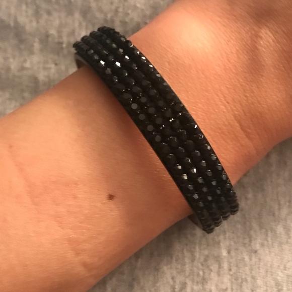 29e272ad6b94e Adjustable Black Swarovski Bracelet Leather Band